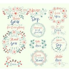 Thank yoube bravenever stophello love insignias vector