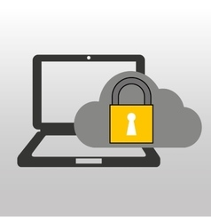 cloud computer connected security vector image