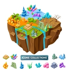 Gaming island and stones isometric icons vector