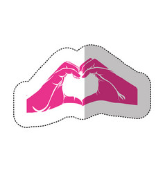 Fuchsia hand with heart icon vector
