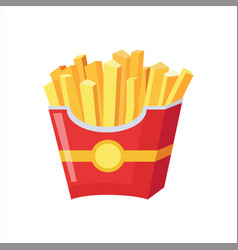Paper pack of french fries street fast food cafe vector
