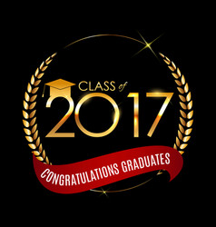 congratulations on graduation 2017 class vector image
