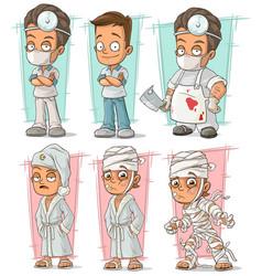 Cartoon doctor and patient character set vector