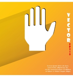 Stop hand flat modern web button with long shadow vector