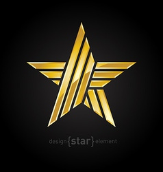 Abstract Gold star on black background vector image