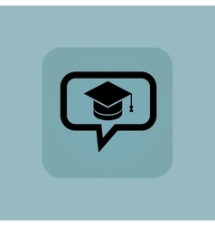 Pale blue graduation message icon vector