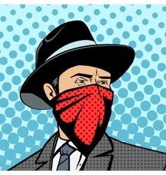 Gangster with hidden face pop art vector