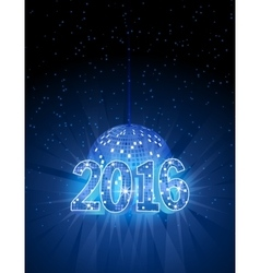 Number 2016 with disco blue ball vector
