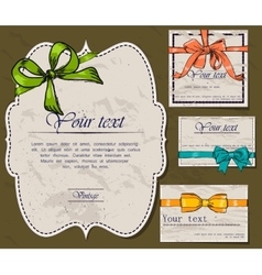 Set of vintage gift bows vector