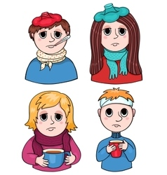 Set of sick children vector