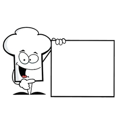 Chef hat guy presenting a blank sign vector