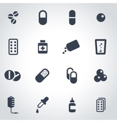 Black pills icon set vector