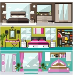 Bedroom interior banners set in flat style vector