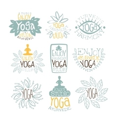 Ayurvedic studio vintage stamp collection vector