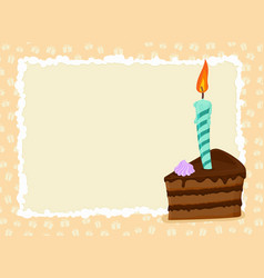 birthday card piece of cake and candle holiday vector image vector image