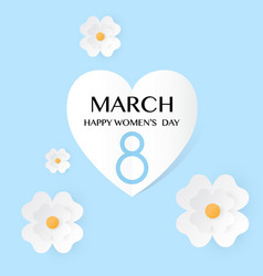 Blue floral greeting card women s day 8 march vector