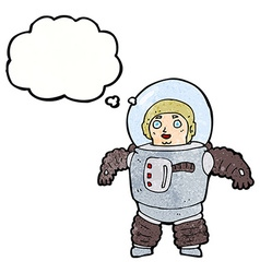 cartoon space man with thought bubble vector image