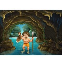 Caveman and fish vector