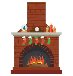 Christmas stockings by the fireplace vector
