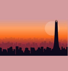Collection of dubai building at sunset silhouettes vector