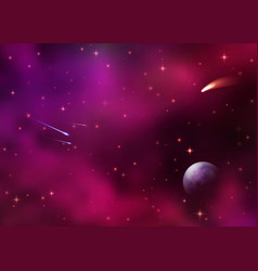 Cosmic galaxy background with colorful nebula vector