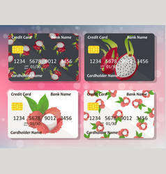 Design for credit card with pitahaya and lychee vector