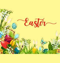 Easter egg on grass with flower greeting card vector