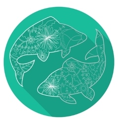 Flat icon of zodiac sign Pisces vector image vector image