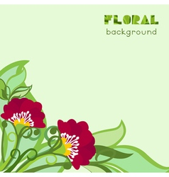 Floral Background With Poppies And Leaves vector image