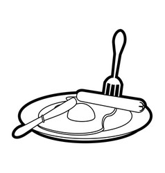 Fried eggs with sausage on plate vector