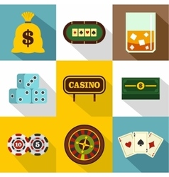 Gambling house icons set flat style vector