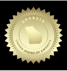 Gold star label georgia vector