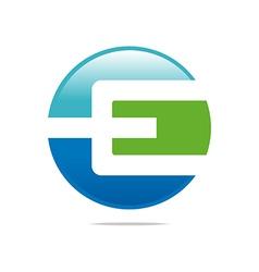 Logo abstract icon circle square letter e design vector