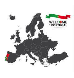 map of europe with the state of portugal vector image vector image