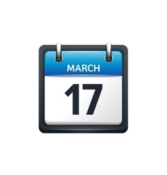 March 17 calendar icon flat vector