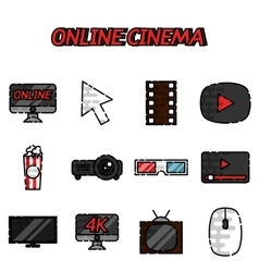 Online cinema flat icons set vector image vector image
