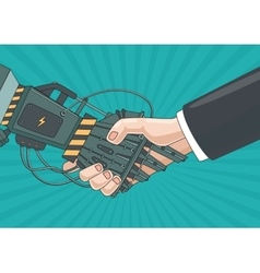 Partnership with a robot Business concept vector image vector image