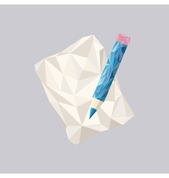 Polygonal Pencil Icon with geometrical figures vector image