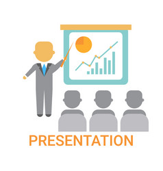 presentation business man showing flip chart with vector image vector image