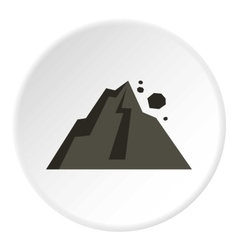 Rockfall in mountains icon flat style vector image vector image