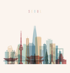 Seoul skyline detailed silhouette vector