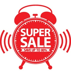 Super sale red alarm clock vector image vector image