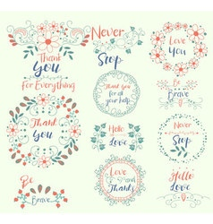 Thank yoube bravenever stophello love insignias vector