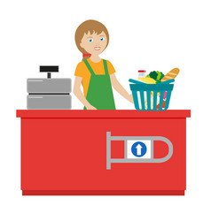 The girl cashier in a grocery supermarket cart vector