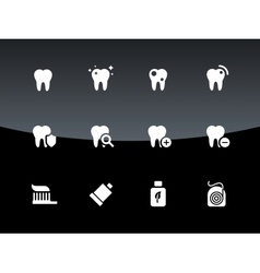 Tooth teeth icons on black background vector image