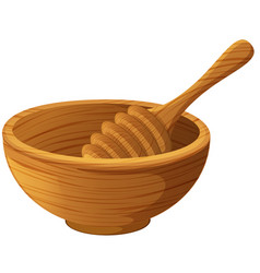 wooden bowl and honey stick vector image vector image