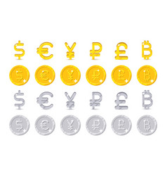 world currency signs and coins vector image vector image