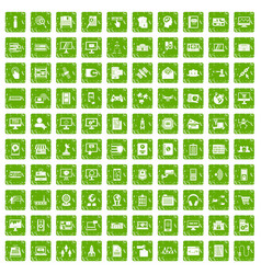 100 database icons set grunge green vector image vector image