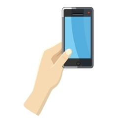 Hand holding smartphone icon cartoon style vector