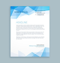 Blue abstract shapes letterhead template vector
